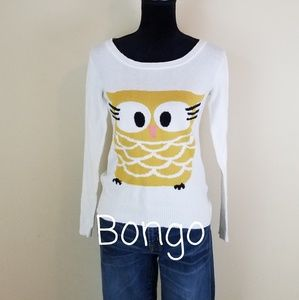 BONGO LIGHT WEIGHT OWL SWEATER, SIZE SMALL